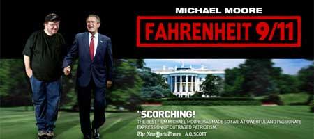 Michael Moore und Georg W. Bush Hand-in-Hand vor dem Weißen Haus - Teaser zu M. Moore's Film: Fahrenheit 9/11