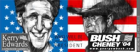 John Kerry and Georg Bush