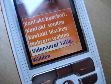 Videoanruf mit dem W800i tätigen