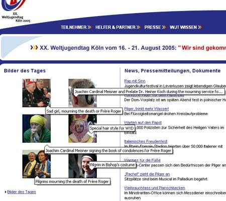 XX. Weltjugendtag 2005 - Bilder des Tages